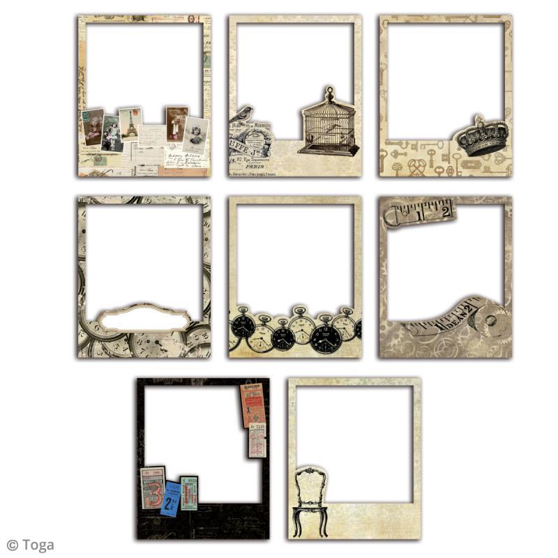 cadre polaroid le temps des secrets 8 8 x 10 7 cm 8 pcs die cut creavea. Black Bedroom Furniture Sets. Home Design Ideas