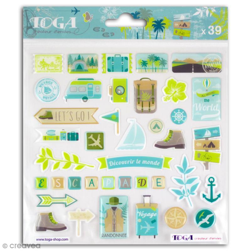 Stickers 3D epoxy - Escapade - 39 pcs - Photo n°1