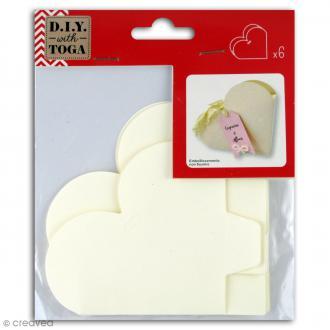 Boîtes à monter - Coeur - Blanc ivoire - 8,5 x 8,5 cm - 6 pcs
