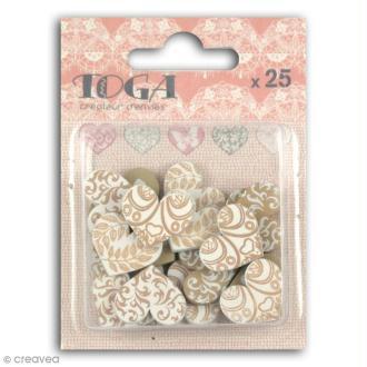 Confettis en bois - Coeurs - Beige et blanc - 2 cm - 25 pcs