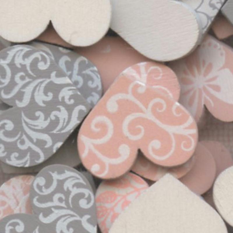 Confettis en bois - Coeurs - Rose et gris - 2 cm - 25 pcs - Photo n°3