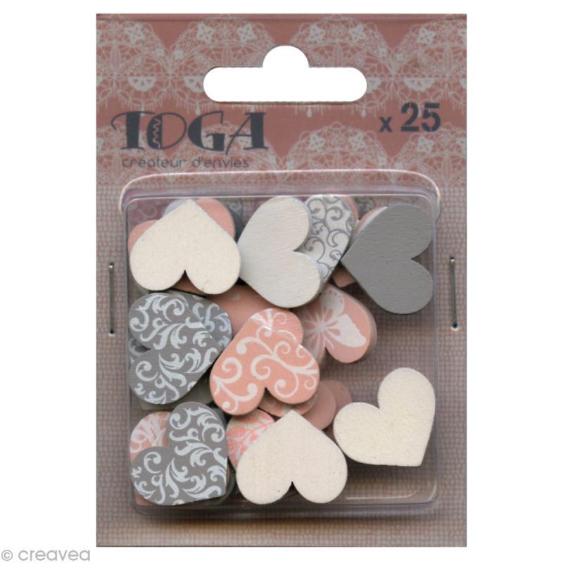 Confettis en bois - Coeurs - Rose et gris - 2 cm - 25 pcs - Photo n°1