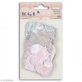 Die cut Toga - Coeurs - Rose, gris - 60 pcs