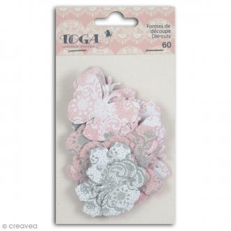 Die cut Toga - Papillons - Rose, gris - 60 pcs