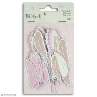 Die cut Toga - Plumes - Rose, beige - 60 pcs