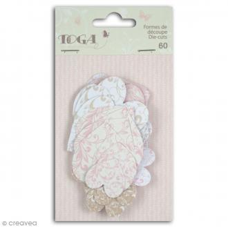 Die cut Toga - Coeurs - Rose, beige - 60 pcs