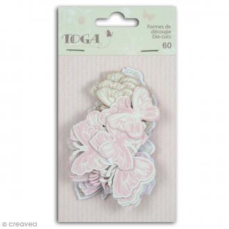 Die cut Toga - Papillons - Rose, beige - 60 pcs