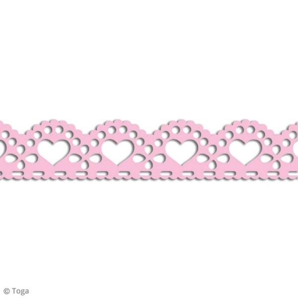 Masking tape Toga - Dentelle coeur festonné rose - 3 m - Photo n°2