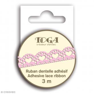 Masking tape Toga - Dentelle coeur festonné rose - 3 m
