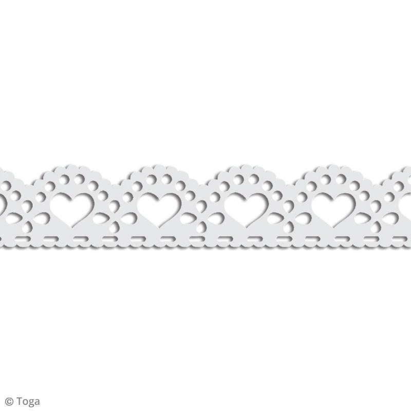 Masking tape Toga - Dentelle coeur festonné blanc - 3 m - Photo n°2