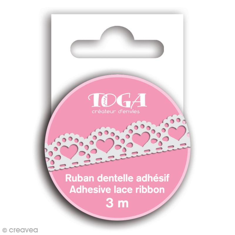 Masking tape Toga - Dentelle coeur festonné blanc - 3 m - Photo n°1