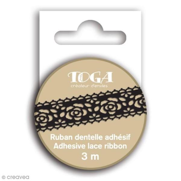 Masking tape Toga - Dentelle fleur noire - 3 m - Photo n°1