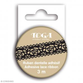 Masking tape Toga - Dentelle fleur noire - 3 m