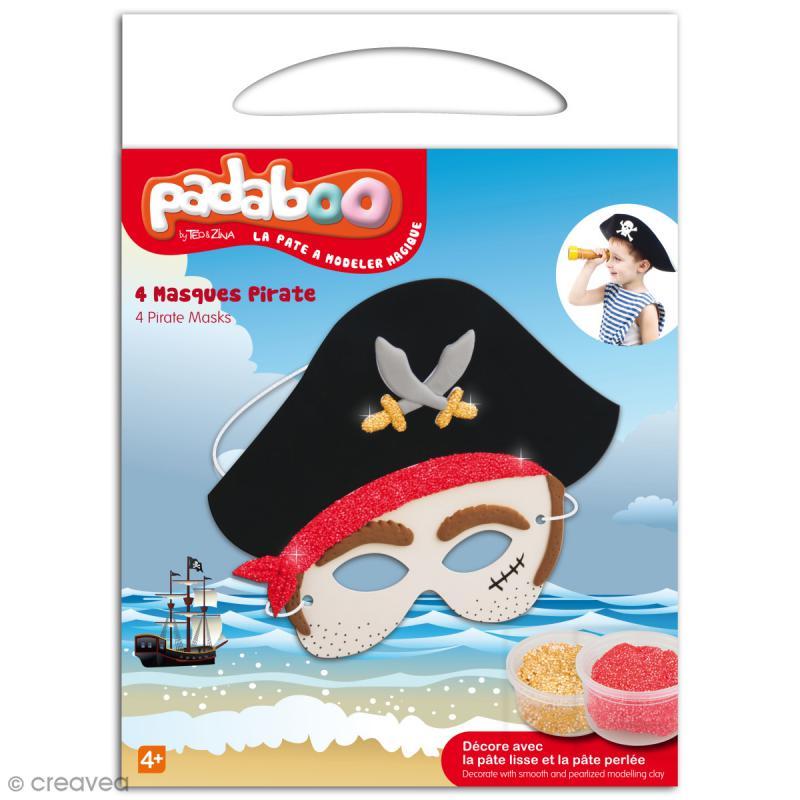 Kit de pâte à modeler Padaboo - 4 masques pirate - Photo n°1