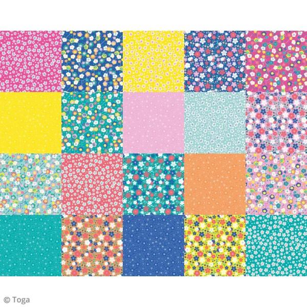 Papier Origami Recto/verso - Fleurs Japon - 15 x 15 cm - 48 feuilles - Photo n°2
