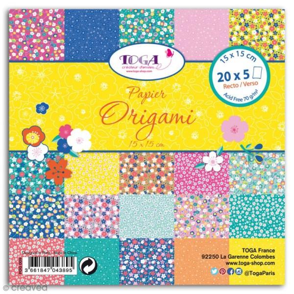 Papier Origami Recto/verso - Fleurs Japon - 15 x 15 cm - 48 feuilles - Photo n°1