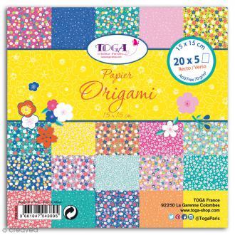 Papier Origami Recto/verso - Fleurs Japon - 15 x 15 cm - 48 feuilles