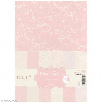 Papier scrapbooking Toga - Color Factory - Romantique - 48 feuilles en A4