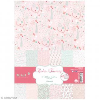Papier scrapbooking Toga - Color Factory - Coeurs et feuillages - 48 feuilles en A4