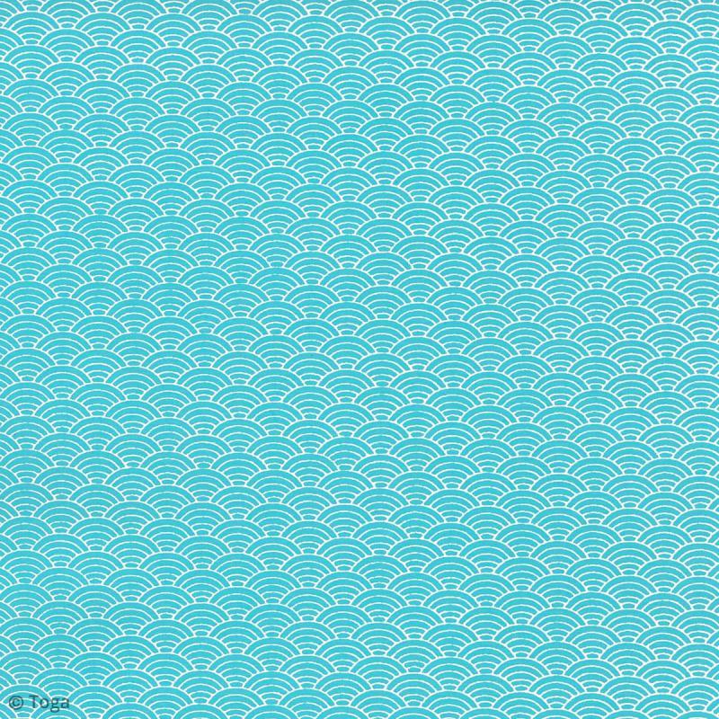 Papier recyclé Or de Bombay - Motifs Japon bleu - 38 x 56 cm - Photo n°2