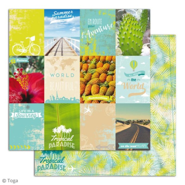 Papier scrapbooking Toga - Escapade - Set de 10 feuilles de 30 x 30 cm - Photo n°3