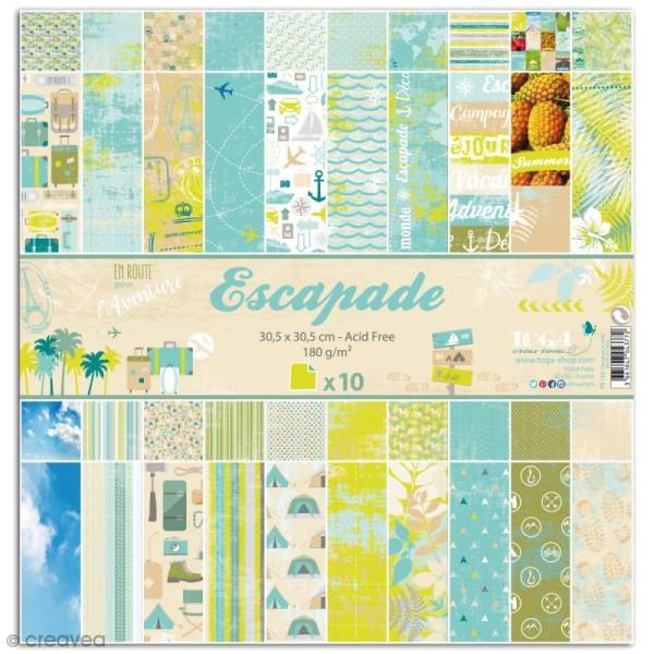 Papier scrapbooking Toga - Escapade - Set de 10 feuilles de 30 x 30 cm - Photo n°1