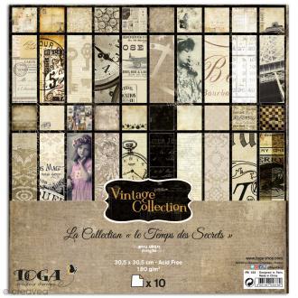 Papier scrapbooking Toga - Le temps des secrets - Set de 10 feuilles de 30,5 x 30,5 cm