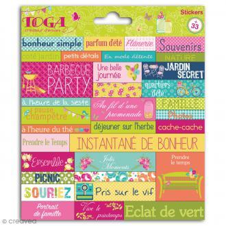 Stickers Mots Toga - Dimanche à la campagne - 1 planche de 15 x 15 cm