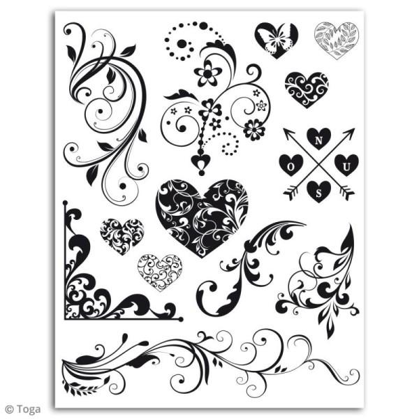 Tampon crystal Toga - Coeurs et arabesques - 1 planche de 14 x 18 cm - Photo n°2