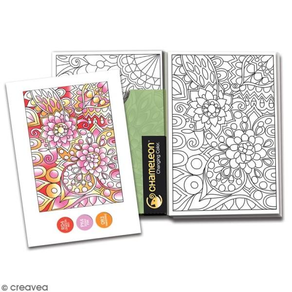 Cartes à colorier pour marqueurs Chameleon - Motifs floraux - 10 x 15 cm - 16 pcs - Photo n°2