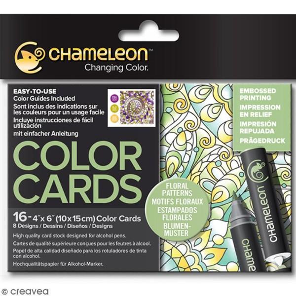 Cartes à colorier pour marqueurs Chameleon - Motifs floraux - 10 x 15 cm - 16 pcs - Photo n°1