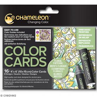 Cartes à colorier pour marqueurs Chameleon - Motifs floraux - 10 x 15 cm - 16 pcs