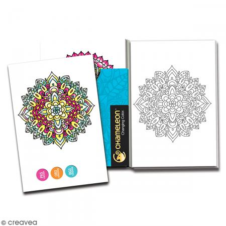Cartes à colorier pour marqueurs Chameleon - Mini mandalas - 10 x 15 cm - 16 pcs - Photo n°2