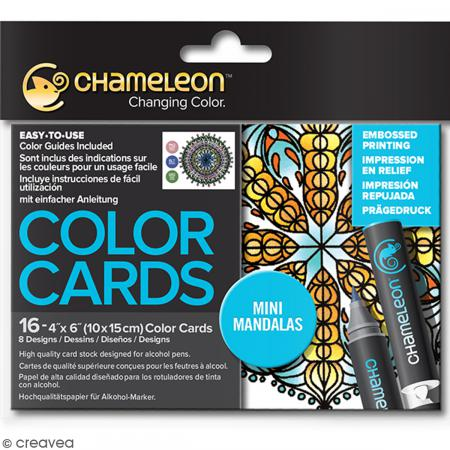 Cartes à colorier pour marqueurs Chameleon - Mini mandalas - 10 x 15 cm - 16 pcs - Photo n°1