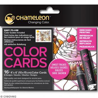 Cartes à colorier pour marqueurs Chameleon - Délices sucrées - 10 x 15 cm - 16 pcs