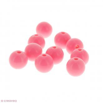 Perles acryliques Rose - 12 mm de diamètre - 10 pcs