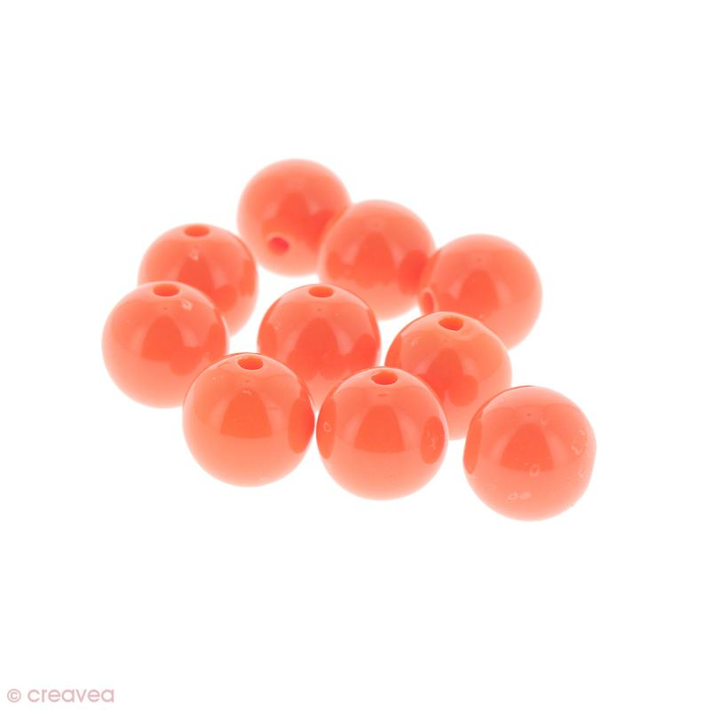Perles acryliques Saumon - 12 mm de diamètre - 10 pcs - Photo n°1