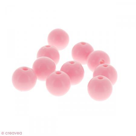 Perles acryliques Rose pastel - 12 mm de diamètre - 10 pcs - Photo n°1