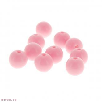 Perles acryliques Rose pastel - 12 mm de diamètre - 10 pcs
