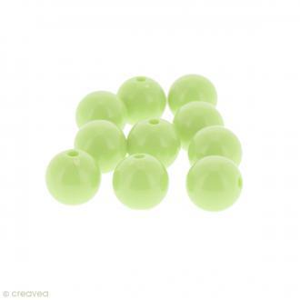 Perles acryliques Vert pastel - 12 mm de diamètre - 10 pcs