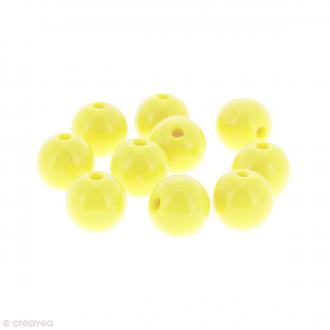 Perles acryliques Jaune - 12 mm de diamètre - 10 pcs
