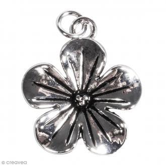 Pendentif breloque en métal - Fleur fantaisie  - 20 mm - 1 pce