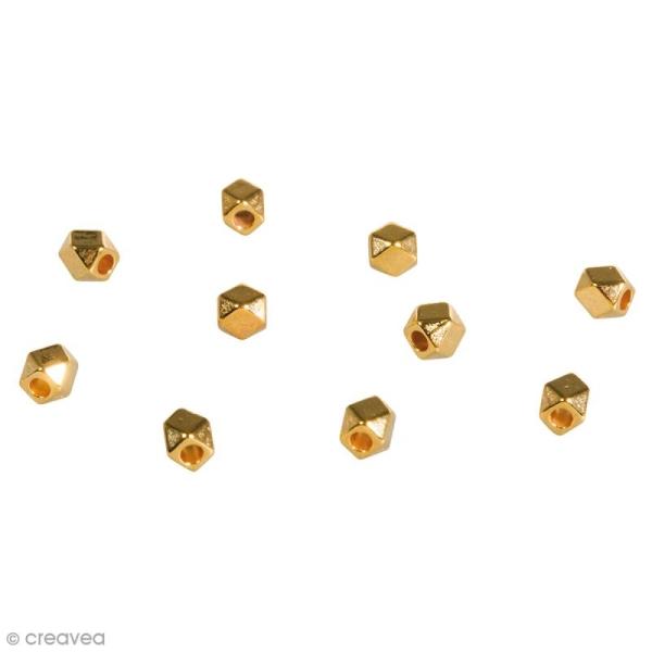 Perles intercalaires métalliques - Polygones Dorés  - 3 mm - 10 pcs - Photo n°1