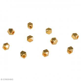 Perles intercalaires métalliques - Polygones Dorés  - 3 mm - 10 pcs
