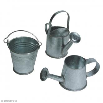Set arrosoirs miniatures - Argenté - Métal - 3 à 5 cm - 3 pcs