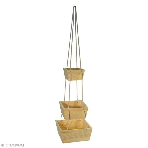 Set Plateaux en bois à suspendre avec corde  - Bois - 3 pcs - Photo n°1