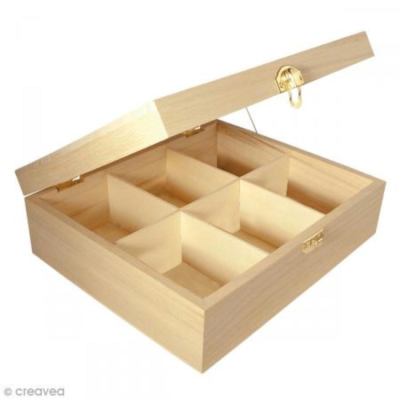 Boîte à thé - 6 cases - Bois - 21,5 x 18 x 7 cm - Photo n°1