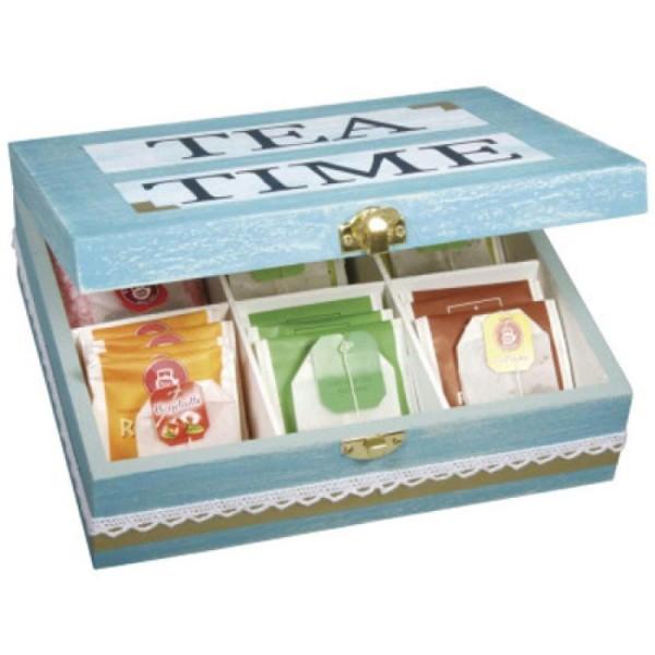 Boîte à thé - 6 cases - Bois - 21,5 x 18 x 7 cm - Photo n°4