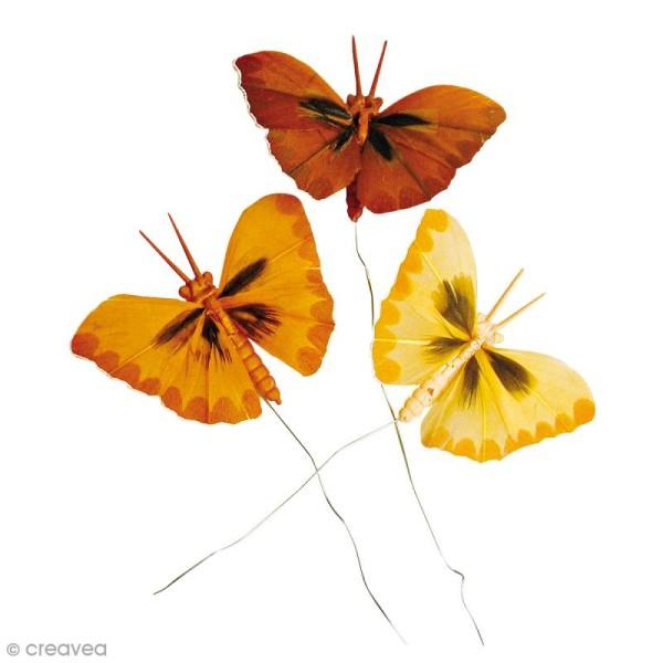Papillons en plumes - Teintes brunes - 6 pcs - Photo n°1