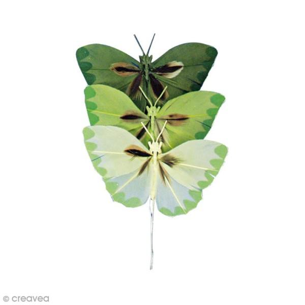 Papillons en plumes - Teintes vertes - 6 pcs - Photo n°1